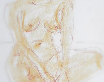 Woman nude drawing signed original pastel chalk, nude in the Studio, body drawing,