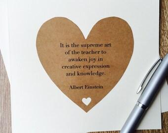 Handmade Thank you Teacher Albert Einstein Quote Card