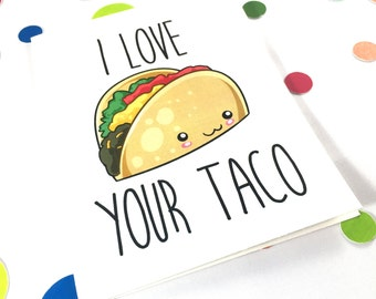 PRINTABLE Naughty Valentine Card for Wife - Blank - Naughty Valentine Card - I Love Your Taco