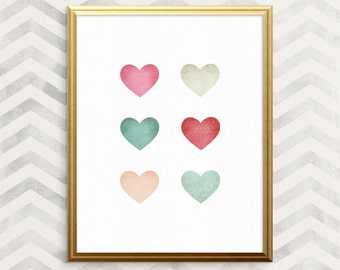 BOGO - Patterned Hearts - fun PRINTABLE wall art, romantic gift, anniversary gift, digital download