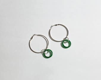Genuine Jade Hoop Earrings