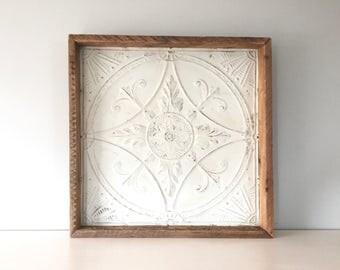 Rustic Tin Tile - Off White - Vintage Reclaimed Barn Wood