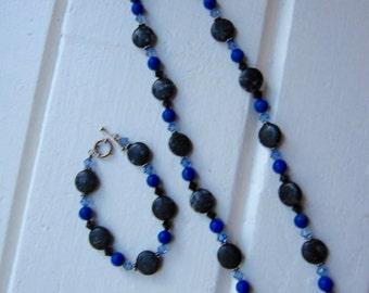 Snowflake obsidian, lapis howlite, swarovski crystal, sterling silver necklace & bracelet set