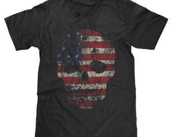 American Flag USA Flag Skull Shirt Available in Adult & Youth Sizes