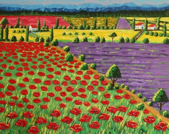 Original painting thick acrylic on canvas - Blooming Fields