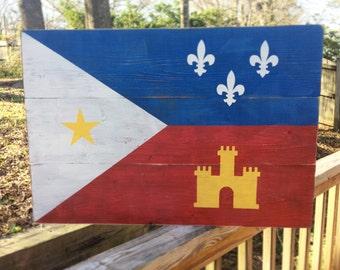 Acadian Flag Wood Sign, Flag of Acadiana, Louisiana Wood sign, Cajun Wood sign, Fleur de lis, Lafayette, Porch Sign, Living room, Distressed