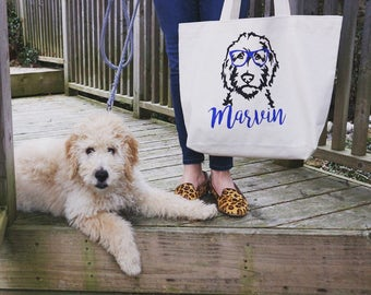 Personalized Doodle Canvas Jumbo Tote Bag