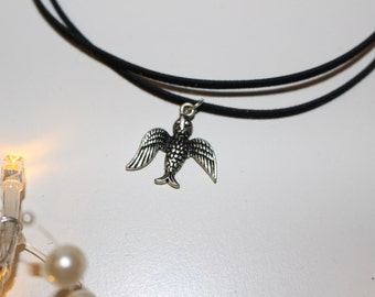 Antique Silver Bird Pendant Double Choker