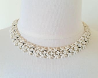 """Vintage Signed Monet Necklace 1950s, MidCentury Monet White Enamel Metal Lace Necklace, 16"""" Vintage Necklace, Signed Costume Jewelry"""
