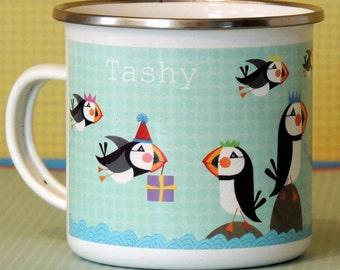 Personalised Puffin Enamel Mug