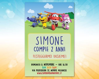 Compleanno Super Wings - Invito Super Wings da personalizzare