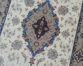 Persian rug Esfahan of 7.1 × 2,6 ft 240 × 75 cm very fine
