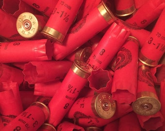 25 Used, Empty Bright Red 12 Gauge Shotgun Shells for Arts and Crafts Gold Star Headstamps