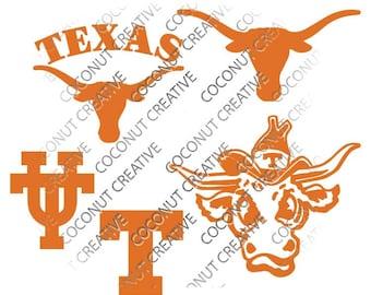 University of Texas Longhorns Austin logo svg dfx jpg jpeg eps layered cut cutting files cricut silhouette die cut decal vinyl