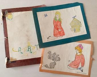 SALE- Child's Art Journal - VIntage - 1940's - Ephemera - Scrapbooking