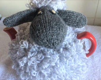 Tea cozies, 4-6 cup, Novelty sheep cozy, Wooly Sheep, Grey hand knitted, Ladies gift, Gift for mom, Teapot warmer, Housewarming gift,
