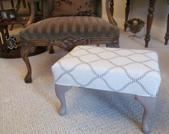 Footstool - medium size, finsihed in a beautiful light weight linen fabric