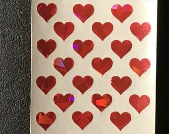 Sandylion Stickers Scrapbook, vintage Glittery Mini Red Hearts Heart  (1 mod)