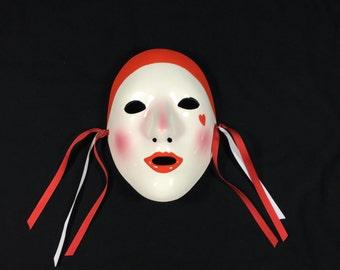 Vintage! Vandor Imports Oriental Hand Painted Face Mask Made Of Porcelain