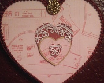 Sewing Themed  Heart in Pink