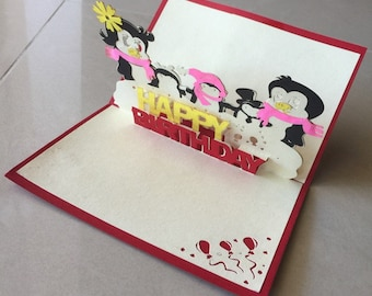 Penguin Pop Up Card, Pop-Up Card, 3D Card, Birthday Pop Up Card, Birthday Card