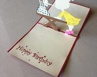 Girl Pop Up Card, Pop-Up Card, 3D Card, Birthday Pop Up Card, Birthday Card