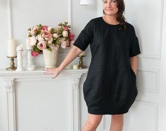 Black linen dress , Linen dress, Womens dress, Linen Oversize Dress, Linen tunic, All season, Oversize dress, Boho dress, Plus size