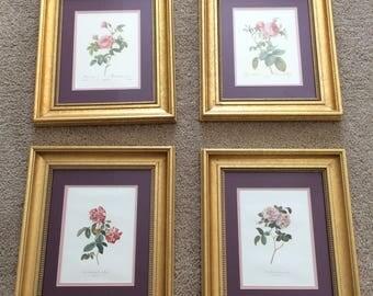 Set of 4 Vintage Rose Prints Double Matted in Gold Frames