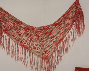 """Shawl wool vintage """"french Country FRANCE"""" sale / Discount"""