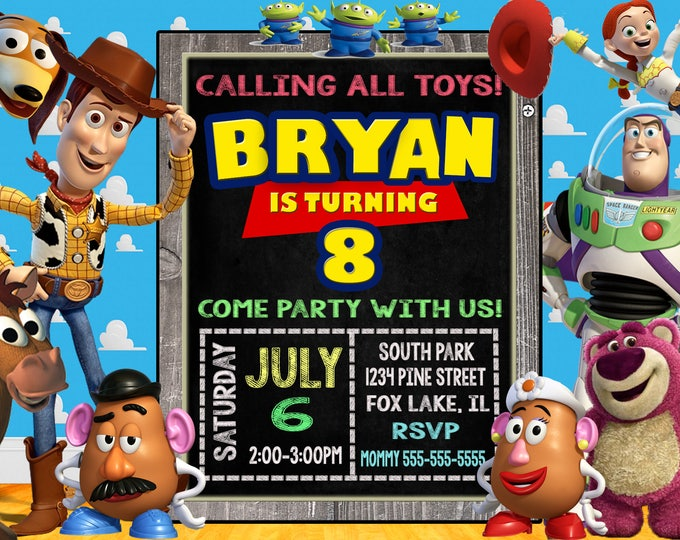 Toy Story Invitation SALE Invite FREE Thank You Tags Free Backside Party Invites