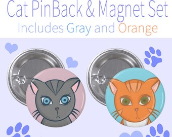 Cats~Pin-Back Button & Magnet
