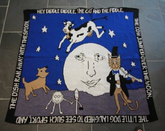 Cat and Fiddle Blue Nursery Rhyme Blanket
