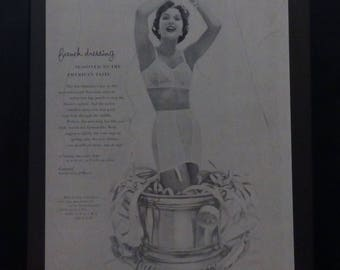 Vintage Lingerie Ad, Vogue 1955, H W Gossard Co, Cardigan Coat designed by Ludwig, Midcentury Fashions, Wall Decor