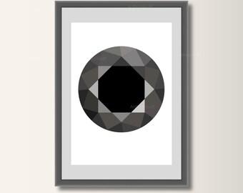 Diamond Black, geometric printing, geometric, minimalist printing, Scandinavian printing, abstract poster, minimal print