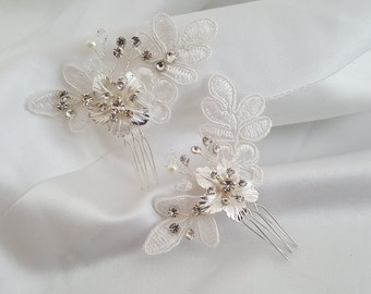 Bridal Comb, Lace Wedding Hair Comb, Flower Hair Pin, Small Hair Pin, Set of 2