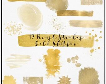 Gold Watercolor Brush Strokes, Glitter Watercolor Clipart, Gold Splash clipart, Brush Strokes, Acrylic Paint Clipart, gold brush clipart