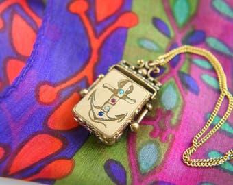 Anchor Locket Necklace - Paste Locket - Victorian Locket - Gold Filled Locket - Vintage Jewelry