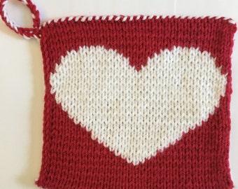 Hand Knit Heart Potholder