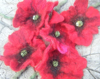 floured woolen flowers 'poppies' with stem, felted wool with soap, beads