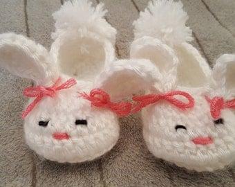 Baby Bunny slippers. Bunny booties. Baby girl slippers.