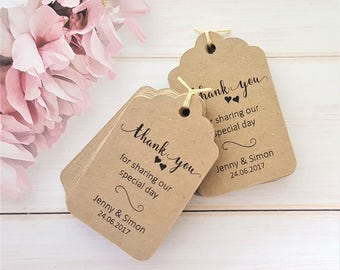 10 Personalised Wedding Favour Tags, Thank you - Ivory Cream - White - Kraft - Scalloped Luggage Shaped Tag