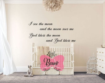God bless me nursery decal wall decal nursery art custom lettering custom decal custom vinyl