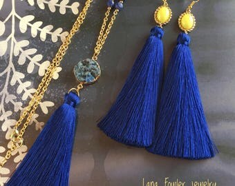 Yellow and blue tassel earrings, yellow and blue tassel necklace