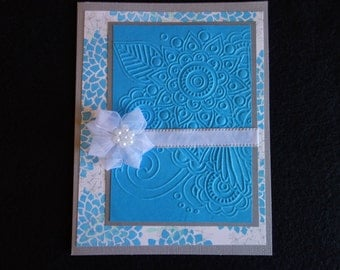 Blue and Gray embossed Happy Birthday
