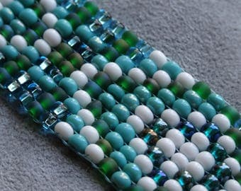 Bead loom woven Indian- Southwestern style blue, green white and turquoise bracelet