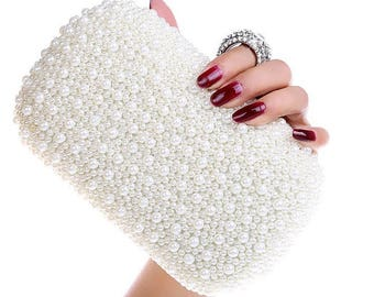 White, Ivory or Pink Colours Bridal wedding Pearl Clutch Bag, prom bag