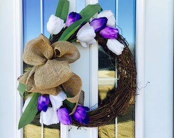 Purple and White Tulip Wreath, Rustic Wreath, Rustic Decor, Spring Wreath, Monogram Wreath, Summer Wreath, Burlap Wreath, Monogram Burlap