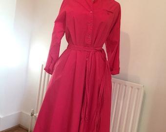 Vintage hot pink 80s midi dress