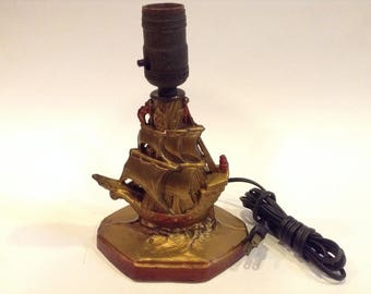Vintage Cast Metal Sailing Ship / Clipper Themed Table Lamp Nautical Home / Office Décor Collectible