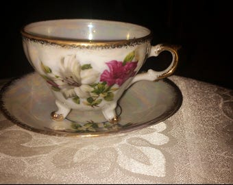 Beautiful porcelain tea cup and saucer, mother's day gift